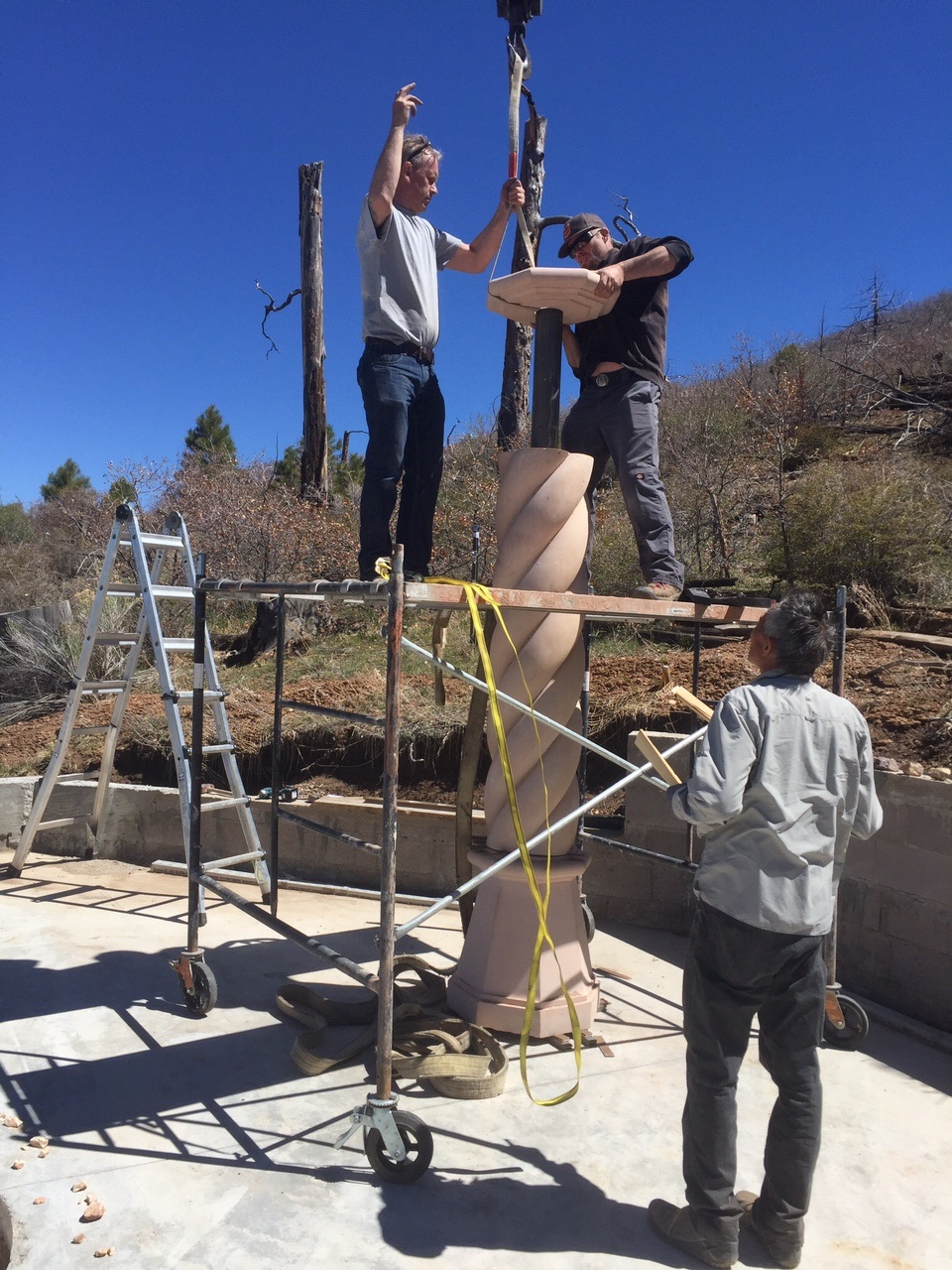 Installing stone columns and capitals