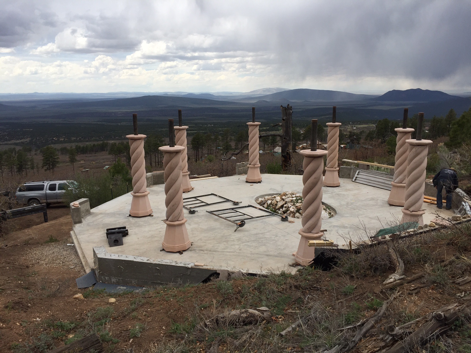 Completed stone columns from above