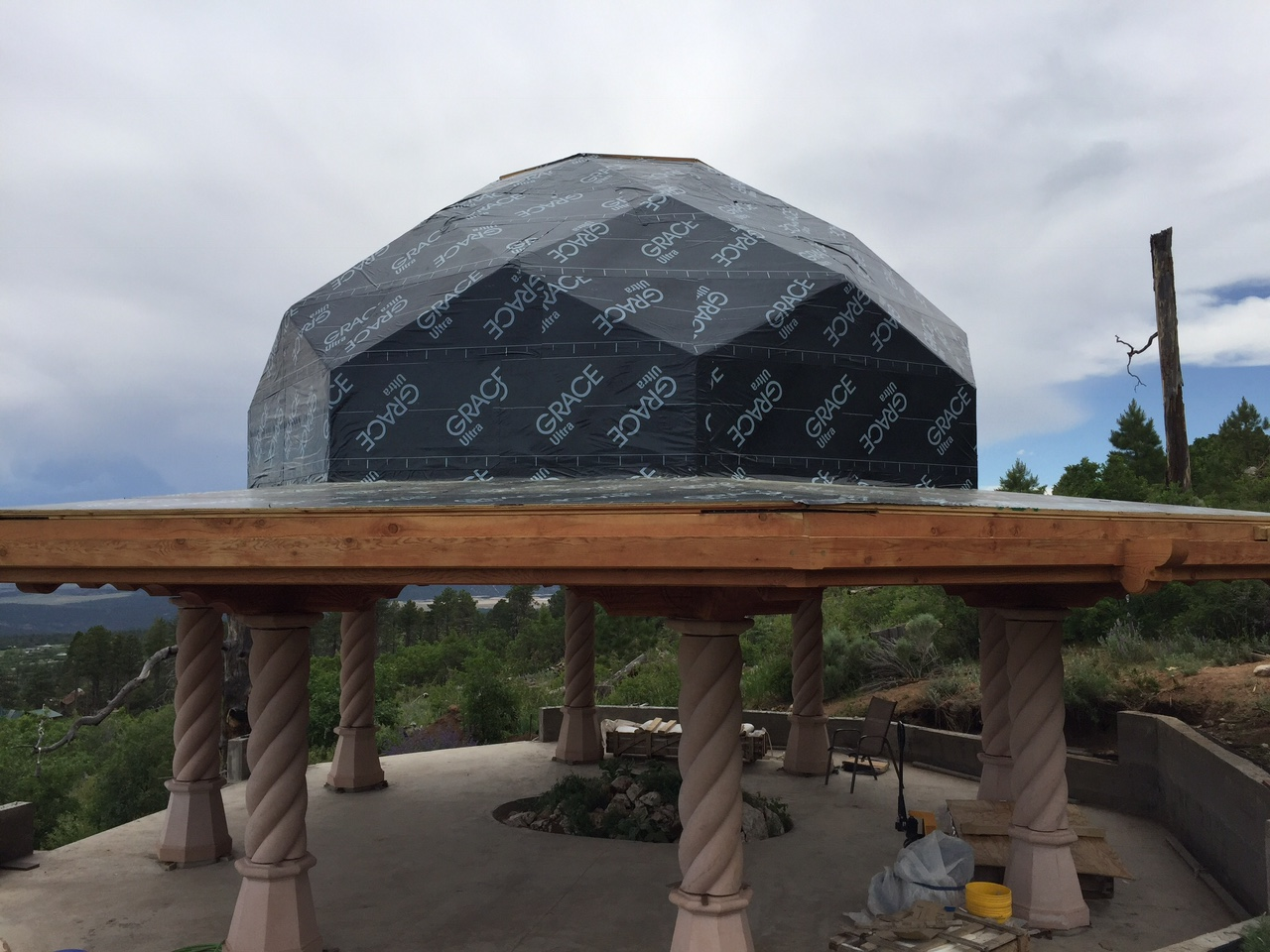 Membrane completed in preparation for installation of copper roof